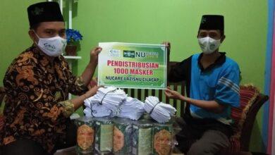 NU Care LAZISNU Cilacap Bagikan Seribu Masker
