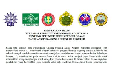 PB LP Maarif NU Menolak Permendikbud No 6 Tahun 2021